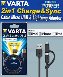 Bild von Varta 2in1 Charge&Sync Cable Micro USB & Lightning Adapter