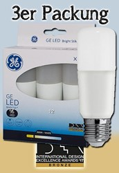 Bild von General Electric 3er Packung LED Lampe Start Bright Stik T38 / 810 Lumen / 9 W / E27 / 100-240V / 3.000 K / 830 Warmweiß / Sofortstart / A+