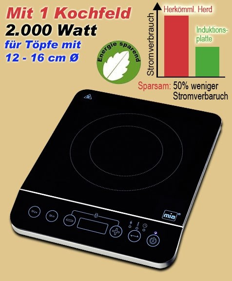 Bild von Induktionskochplatte (Speed Induction) mit Touch Display / 200W-2.000W / 60-240 Grad