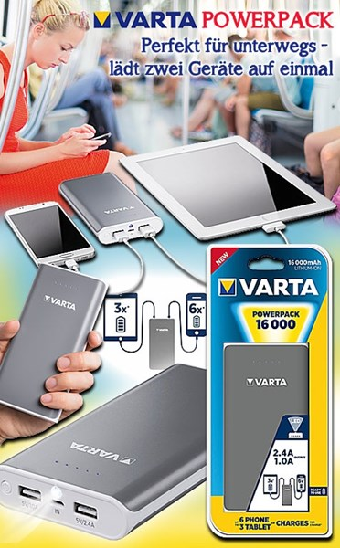 Bild von Varta Portable Powerpack 16.000mAh - externer Akku mit 2 USB-Ausgängen (1,0 A und 2,4 A) und LED-Leuchtfunktion - Lade- und Entladeanzeige - optimal für iPhone, iPad, iPod, Samsung Galaxy, Tablets, Sony, Huawei, HTC, Nokia, GoPro...