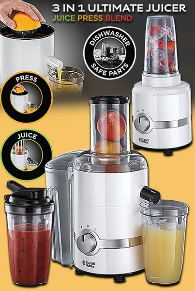 Bild von Russel Hobbs 3-in-1 Ultimativer Entsafter-Zitruspresse-Smoothie Maker / 800 Watt