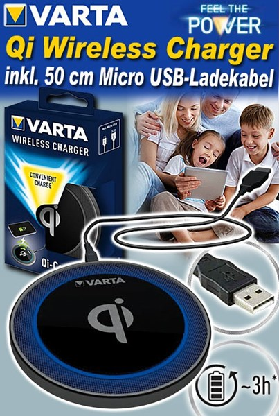 Bild von Varta Qi Wireless Charger Generation 2 - bequemes Laden via Drop & Charge - inkl. 50 cm Micro USB-Ladekabel