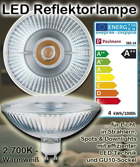 Paulmann 285.14 LED QPAR111 Reflektorlampe Alu 4W GU10 2700K Leuchtmittel Spot