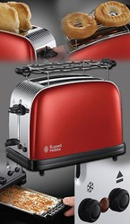"Bild von Russell Hobbs Colours Plus+ Flame Red Toaster ""Lift and Look""-Funktion / 6 einstellbare Bräunungsstufen / 1.670 W / rot"