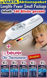 Bild von Varta Aktionspaket Longlife Power Small Package mit 140 Blister und 1 x Beurer Ohrthermometer GRATIS!