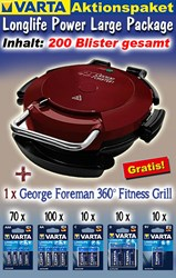 Bild von Varta Aktionspaket Longlife Power Large Package mit 200 Blister und 1 x George Foreman 360° Fitness Grill GRATIS!